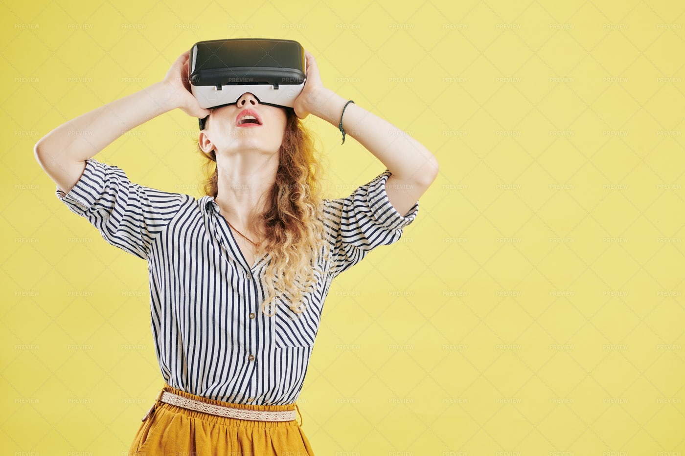 Woman Exploring Virtual Reality: Stock Photos
