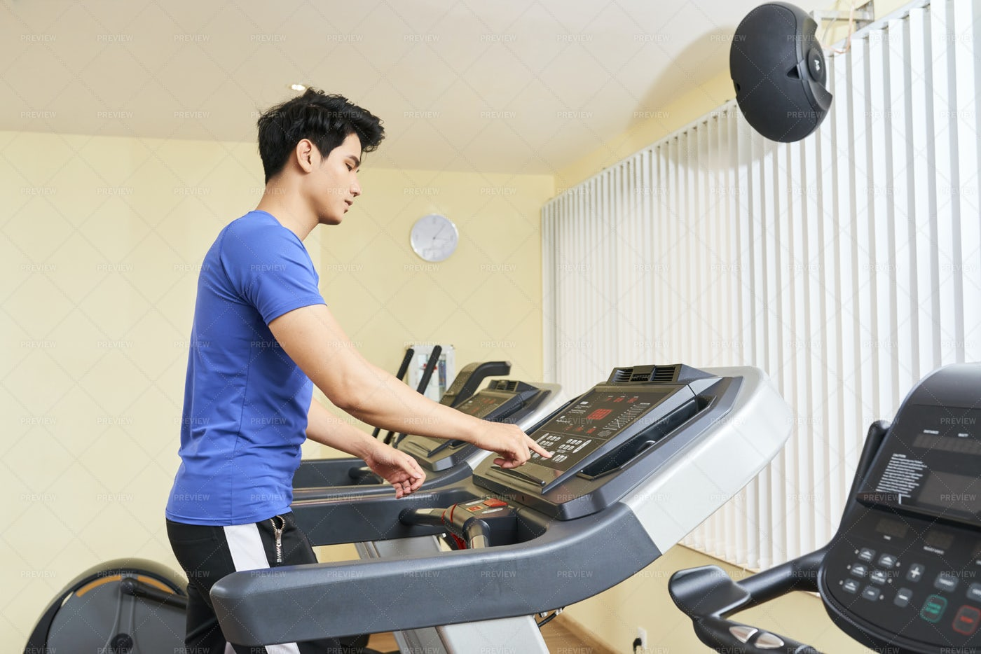 Man Exercising On Treadmill: Stock Photos