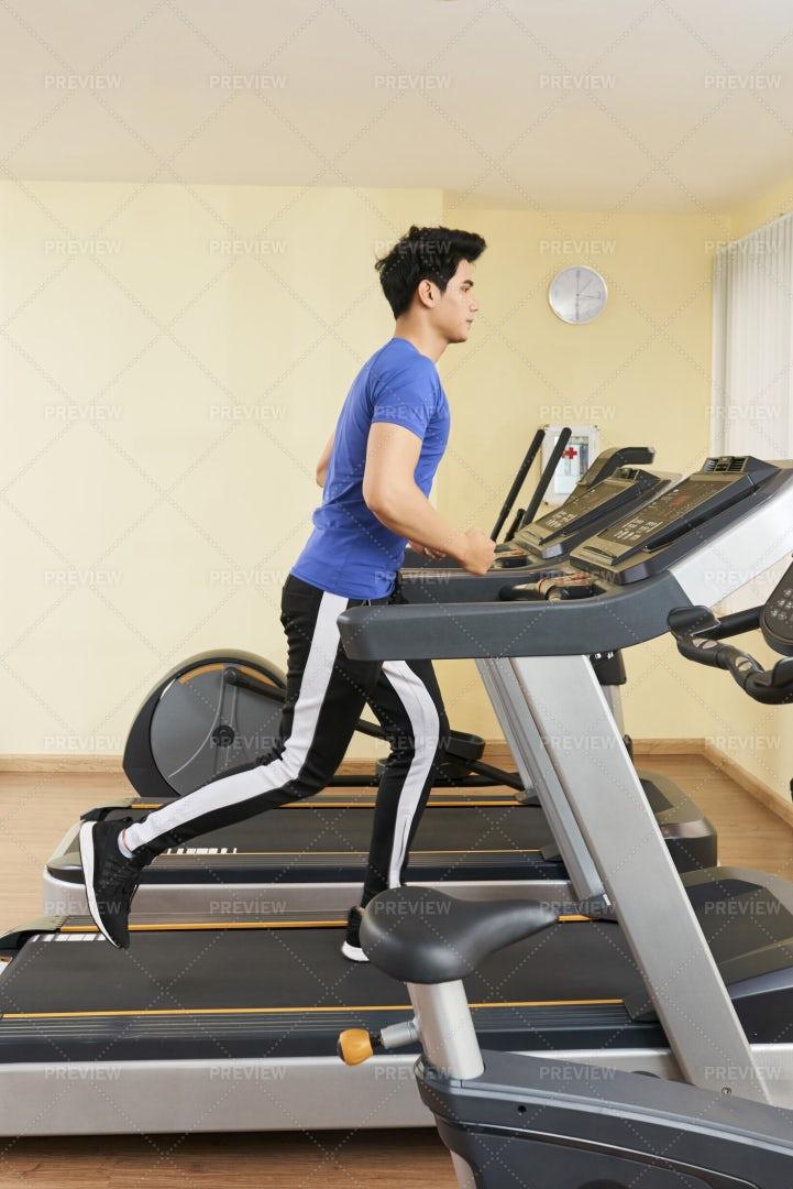 Man Running On Treadmill: Stock Photos