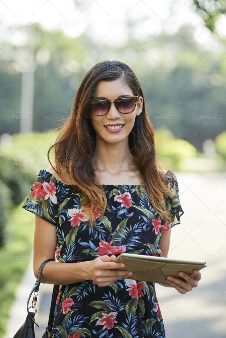 Pretty Woman With Digital Tablet: Stock Photos