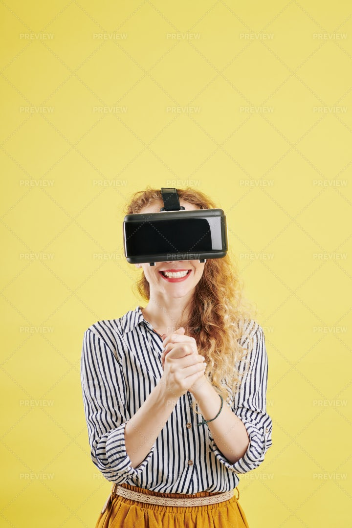 Excited Woman In Vr Glasses: Stock Photos