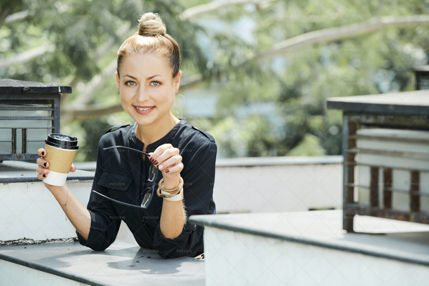 Beautiful Woman In Outdoors Cafe: Stock Photos