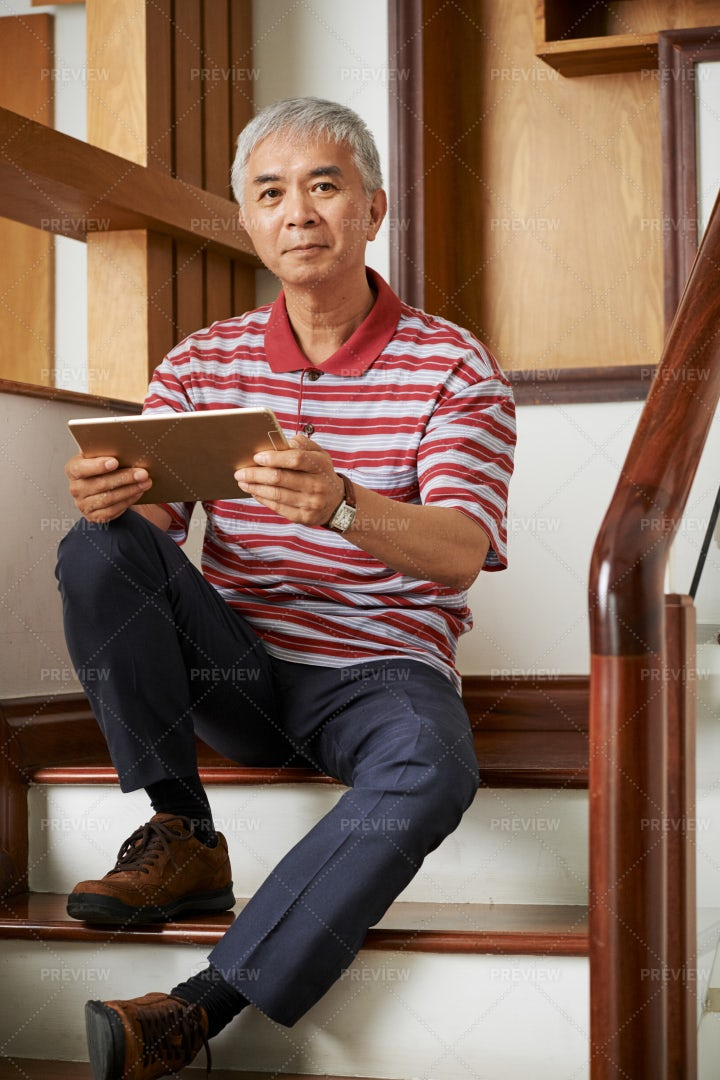 Man With Tablet Pc At Home: Stock Photos