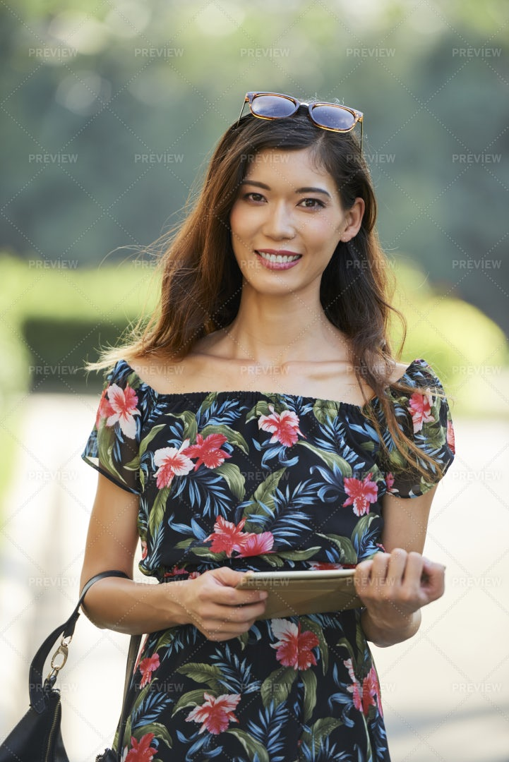 Cheerful Woman With Tablet Computer: Stock Photos