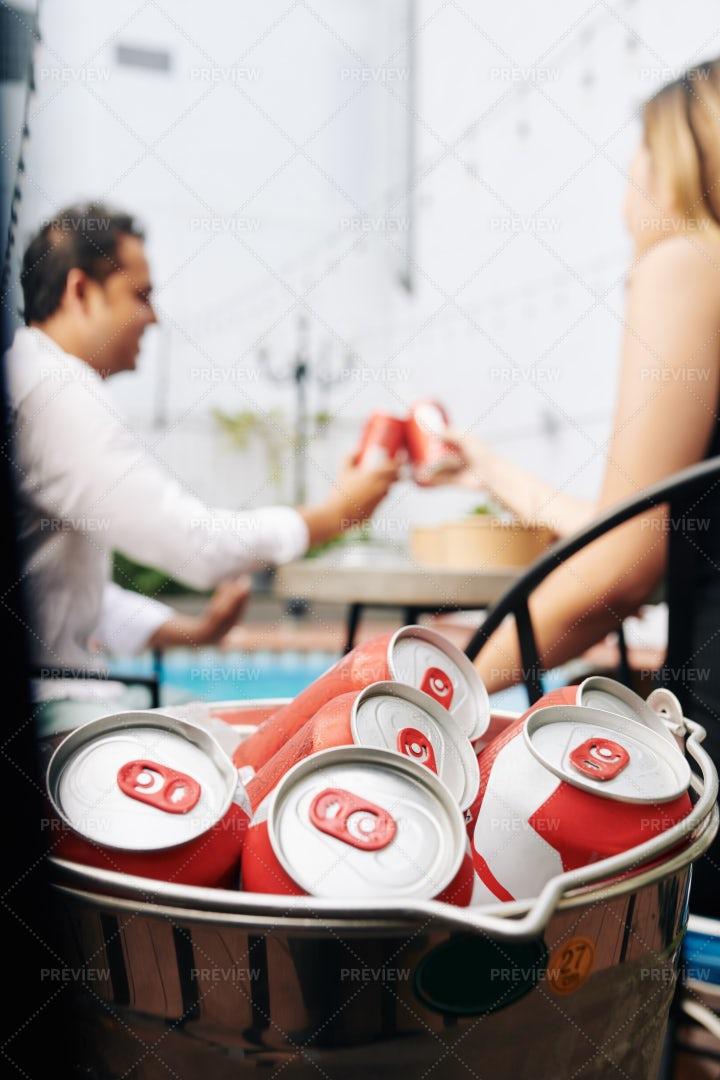 Soft Drinks In Ice Bucket: Stock Photos