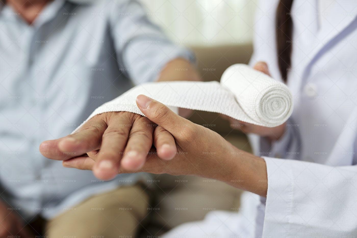Senior Man Injured His Hand: Stock Photos