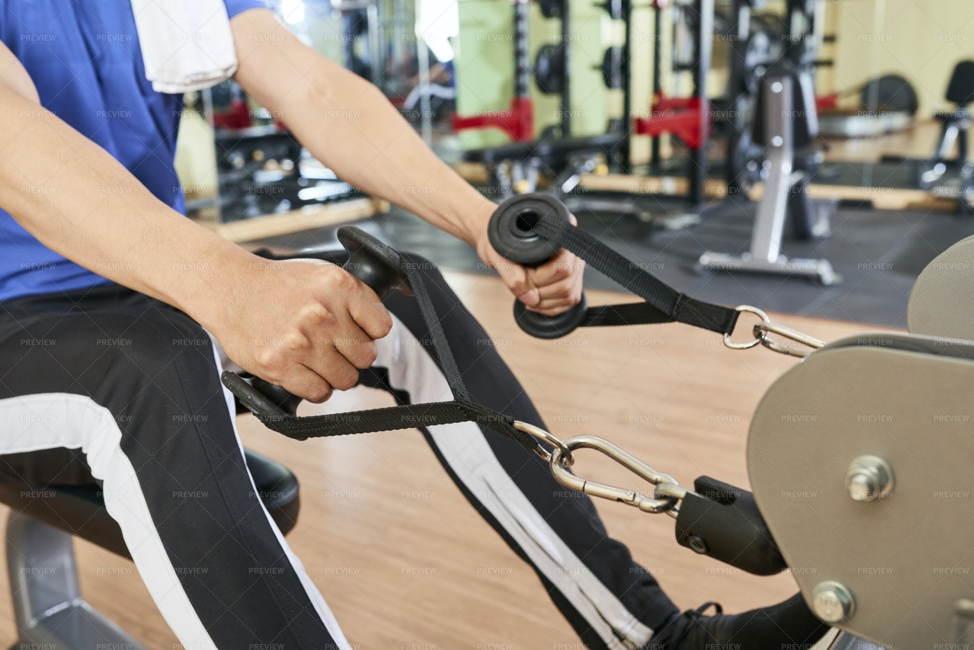 Man Training Muscles On Hands: Stock Photos