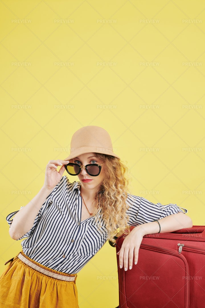Female Traveler With Big Suitcase: Stock Photos