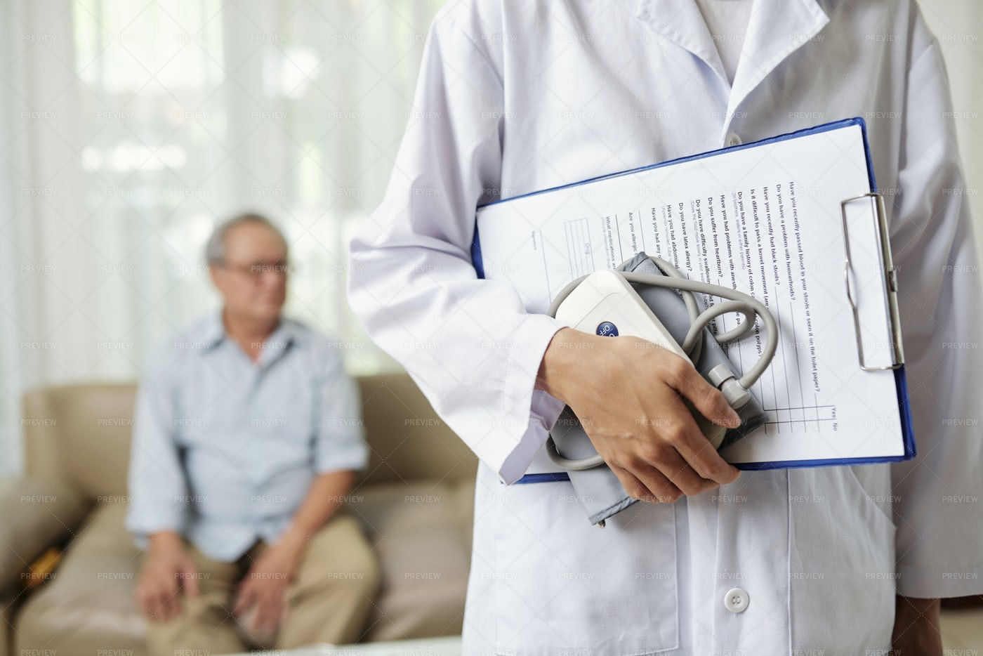 Doctor Coming To The Visit The Patient: Stock Photos