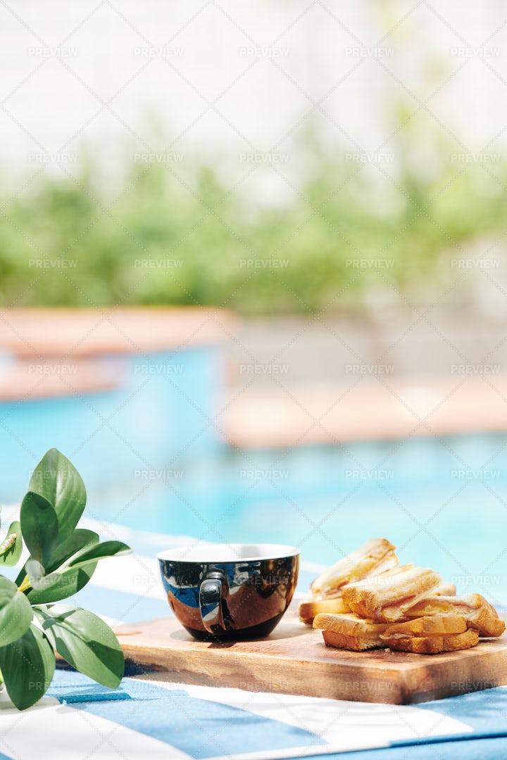 Tasty Breakfast On Wooden Board: Stock Photos