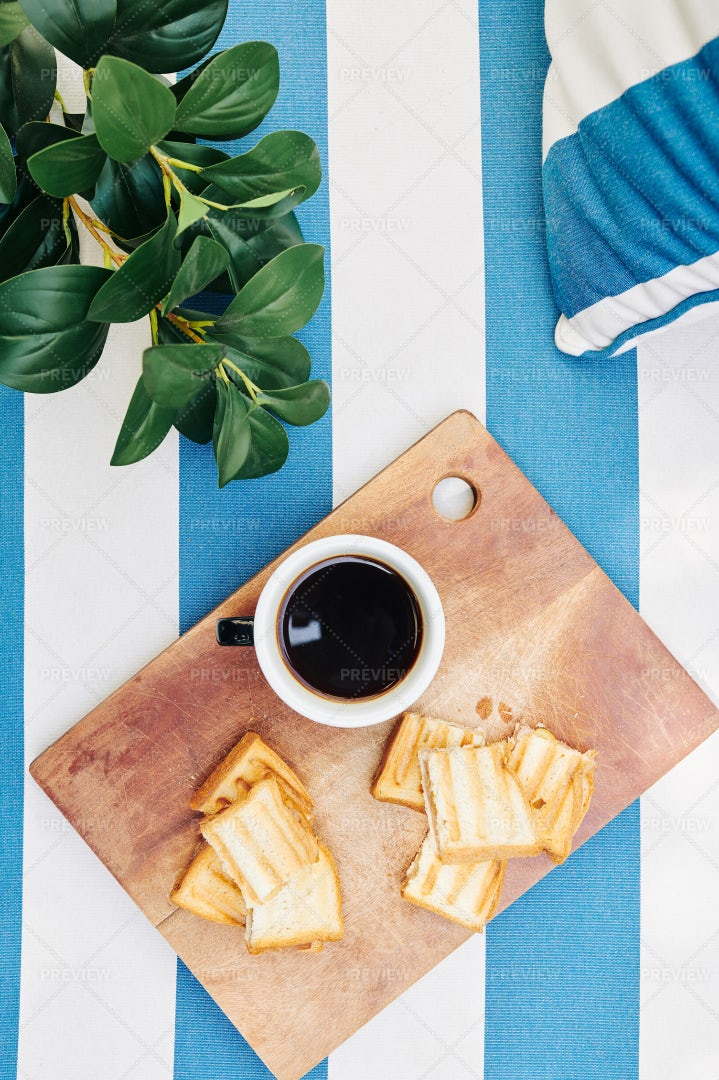 Coffee And Toasts For Breakfast: Stock Photos