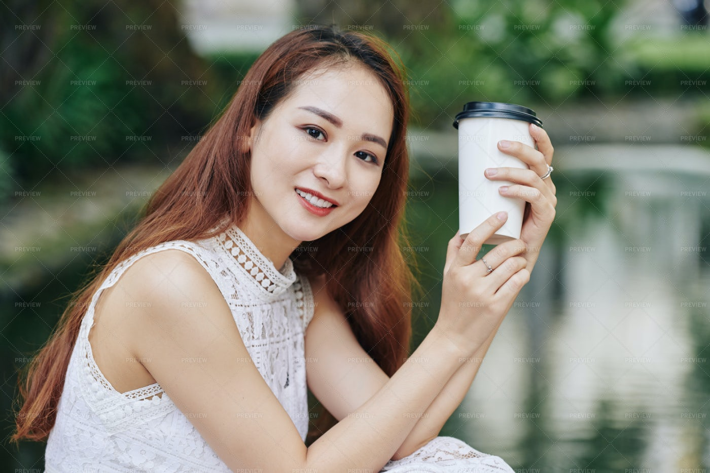 Beautiful Woman With Coffee Cup: Stock Photos