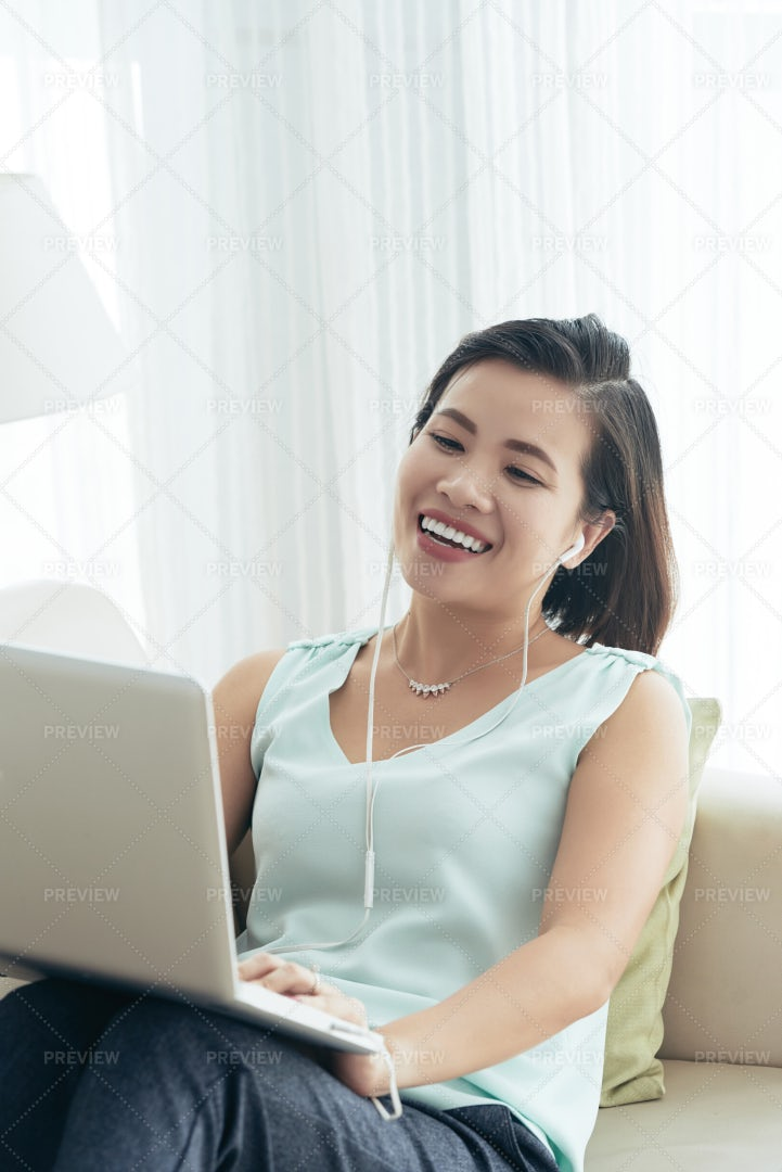 Online Conference On Laptop: Stock Photos