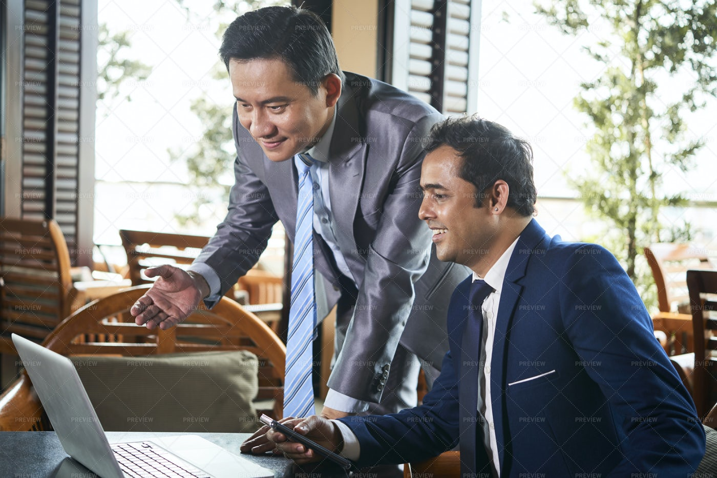 Businessmen Have Online Conference: Stock Photos