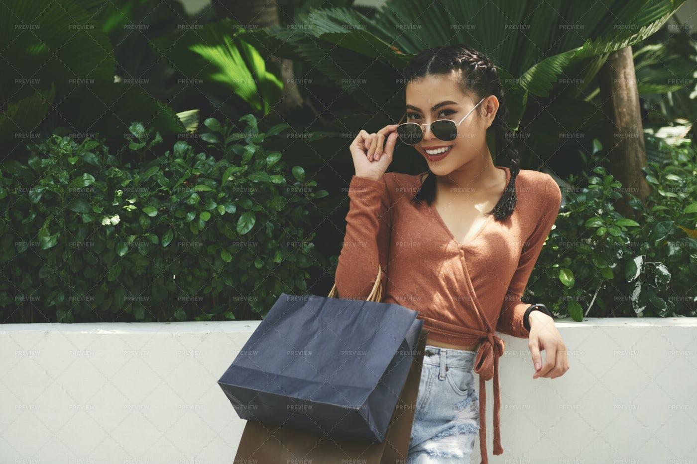 Beautiful Woman Standing Outdoors: Stock Photos