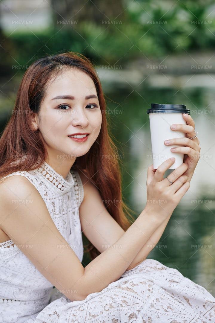 Pretty Woman Drinking Coffee: Stock Photos