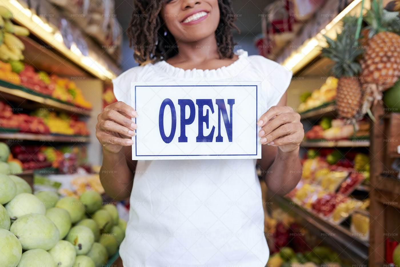 Happy Young Woman Showing Open Sign: Stock Photos