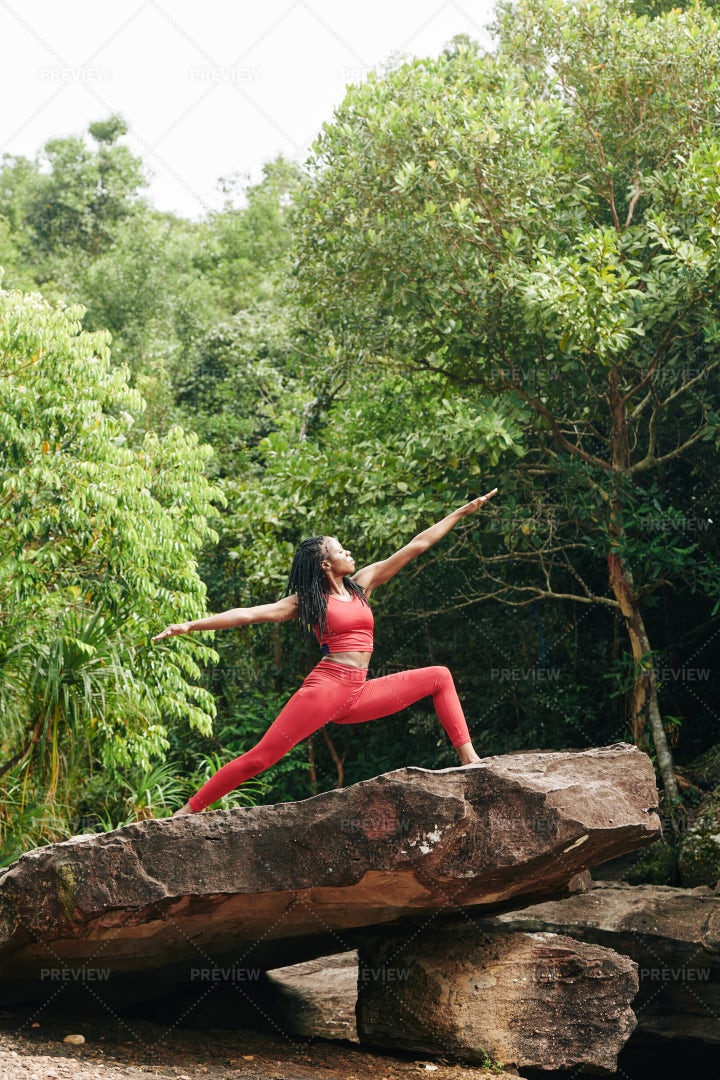 Woman Doing Yoga In Forest: Stock Photos