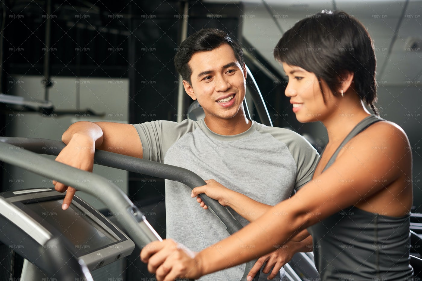 Woman Training With Instructor: Stock Photos