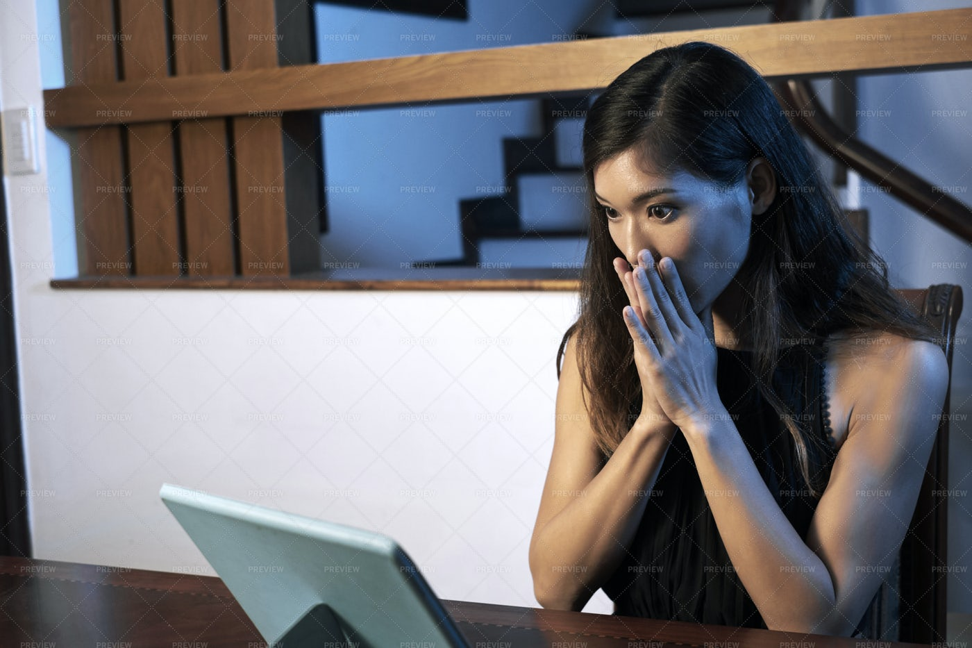 Woman Watching Scary Movie: Stock Photos