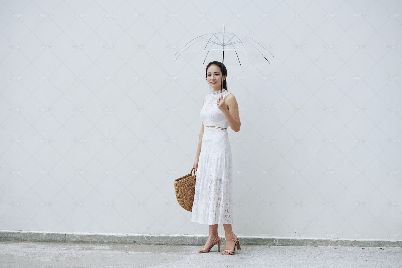 Vietnamese Woman With Umbrella: Stock Photos
