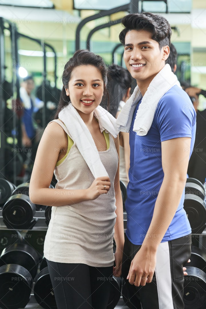 Young Couple In Gym: Stock Photos