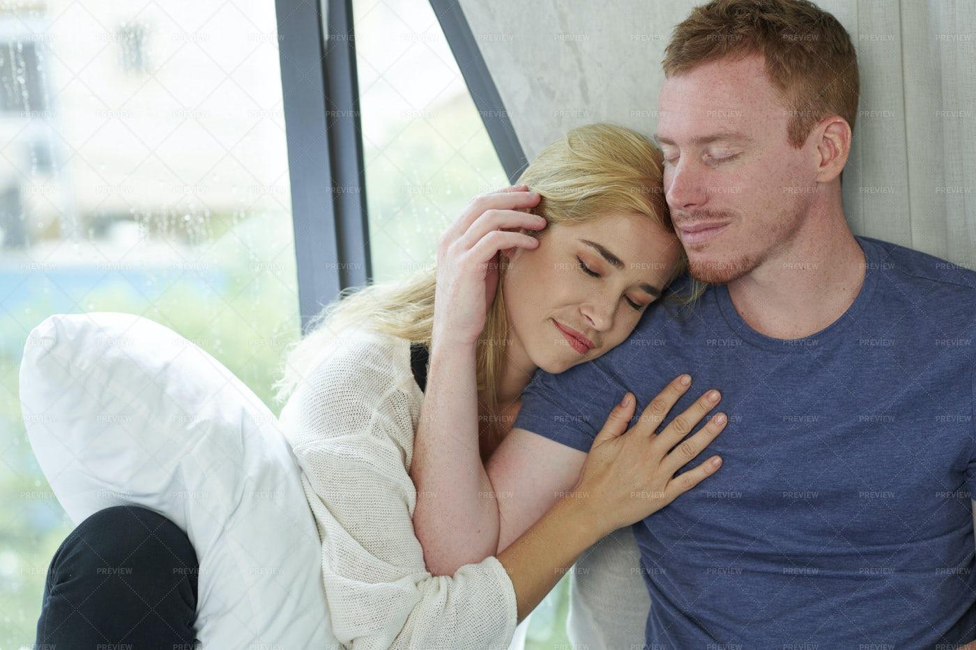 Woman Sleeping On Shoulder On Man: Stock Photos