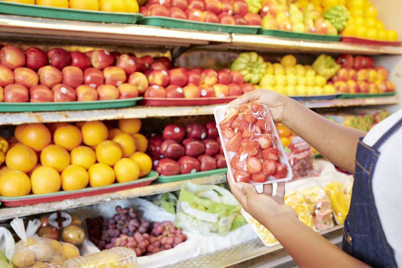 Female Customer Buying Berries: Stock Photos