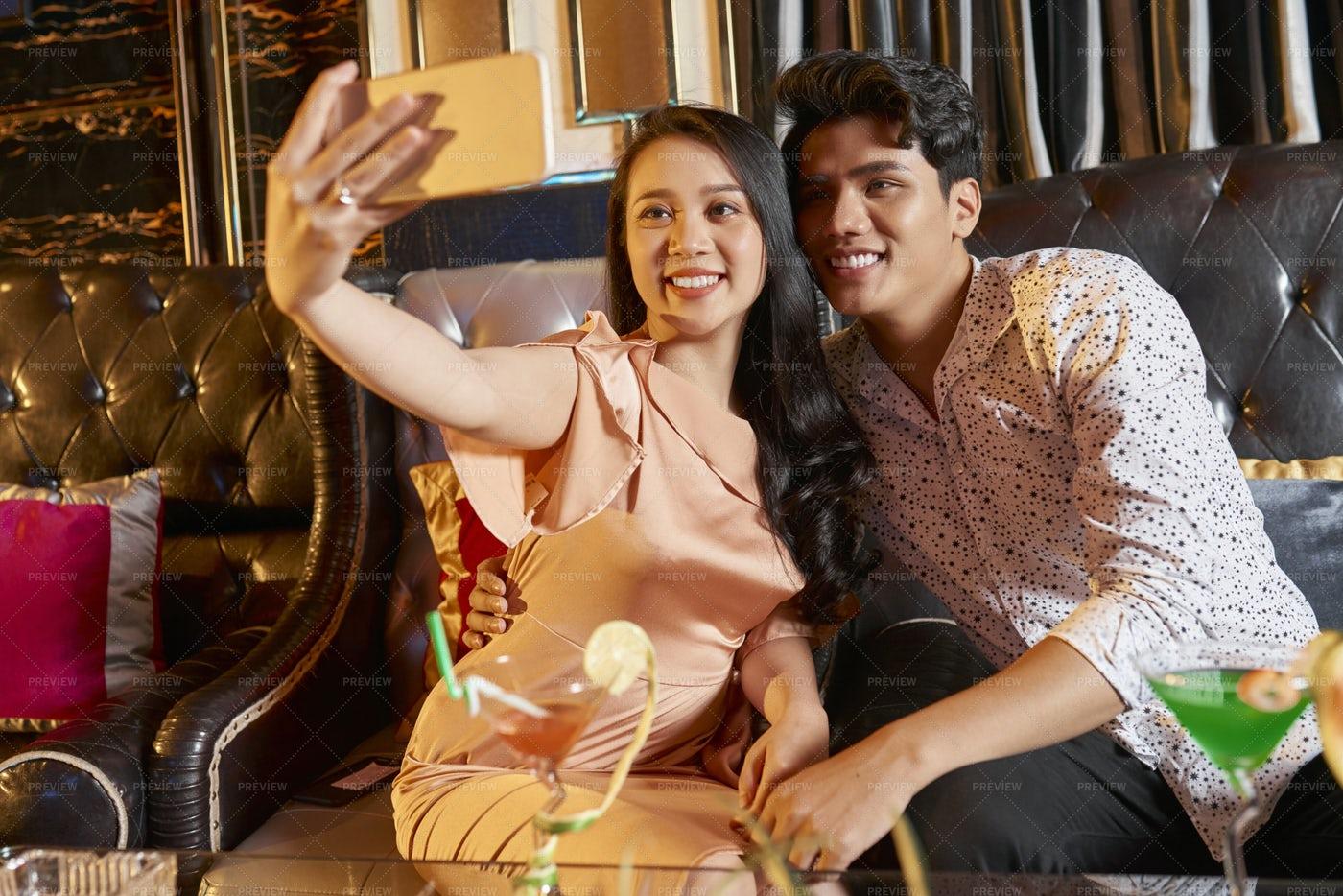 Selfie Portrait Of Couple In Restaurant: Stock Photos