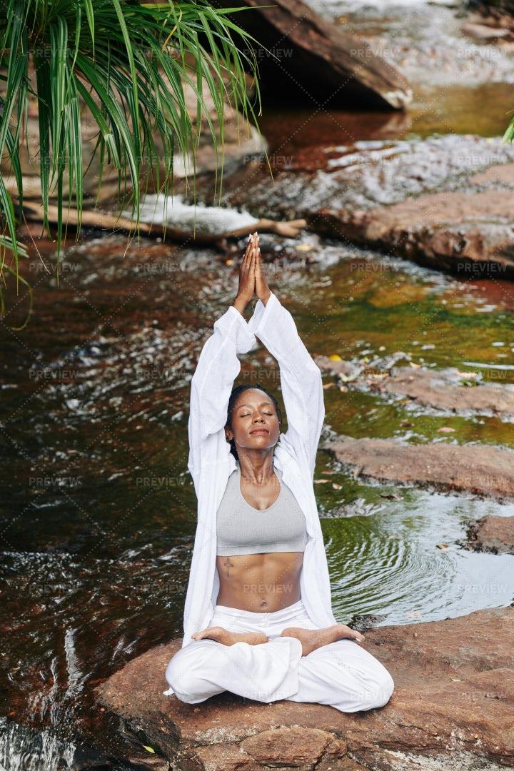 Meditating Calm Young Woman: Stock Photos