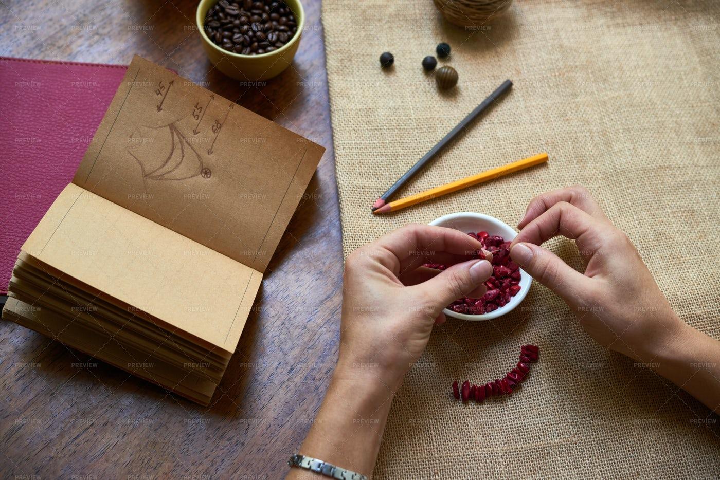 Woman Making Handmade Necklace: Stock Photos