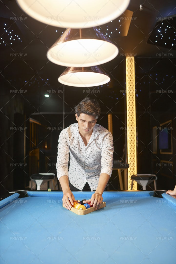 Snooker Game In Night Club: Stock Photos