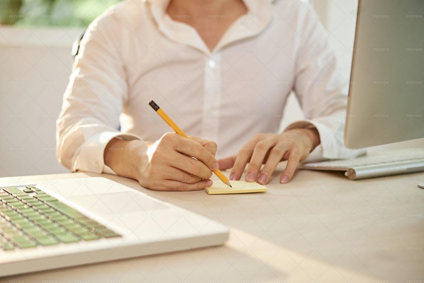 Businessman Writing Fresh Ideas At: Stock Photos