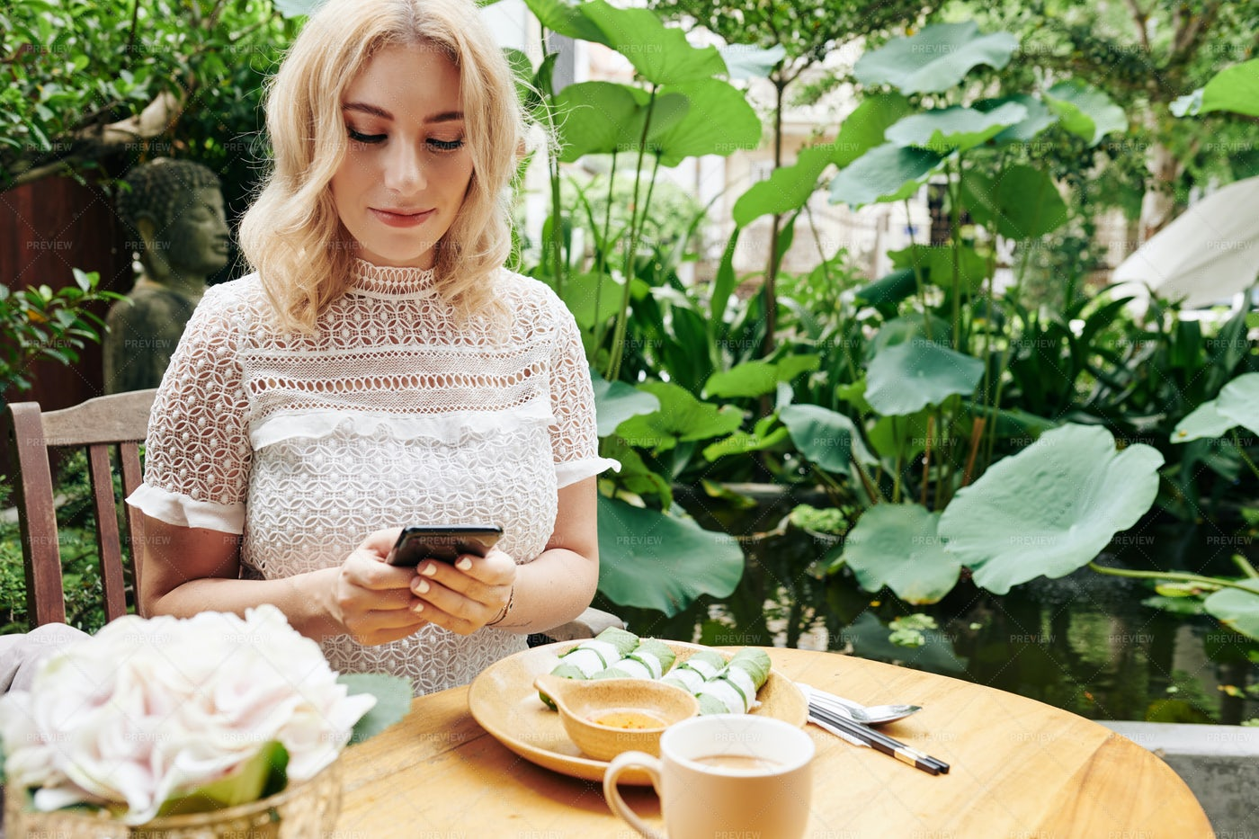 Pretty Woman Having Business Lunch: Stock Photos