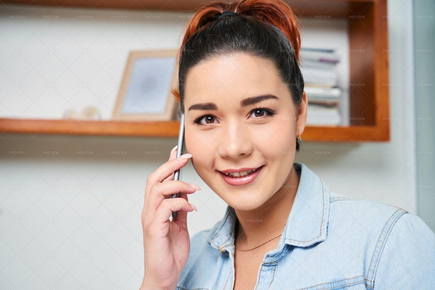 Woman Has A Conversation On Phone: Stock Photos