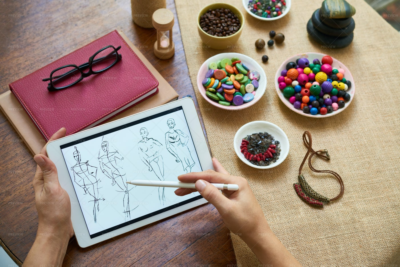 Designer Drawing Sketches On Tablet Pc: Stock Photos