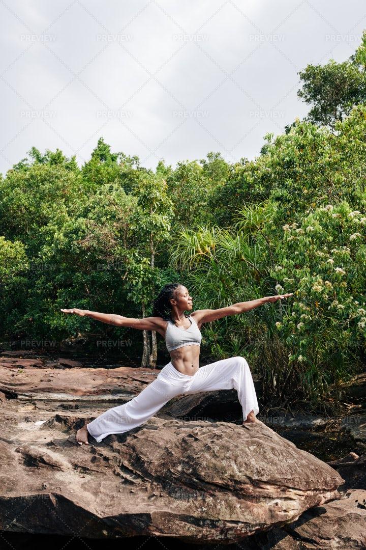 Woman Enjoying Yoga Retreat: Stock Photos
