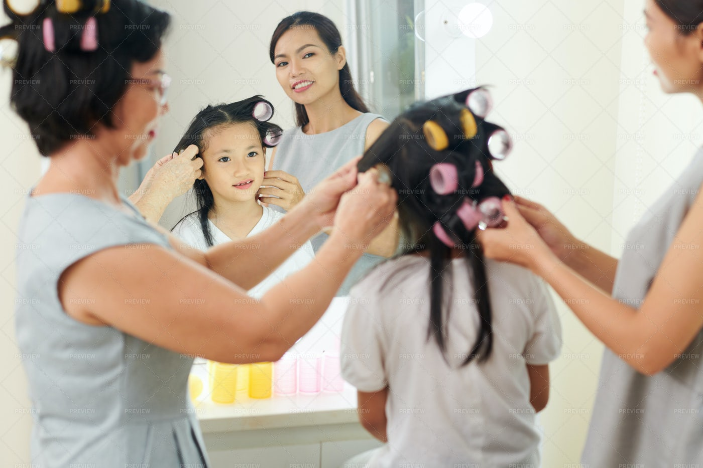 Family Preparing For Holiday Event: Stock Photos