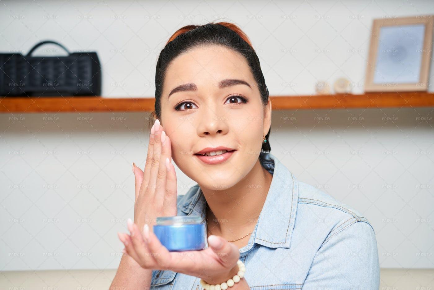 Woman Care For Face: Stock Photos