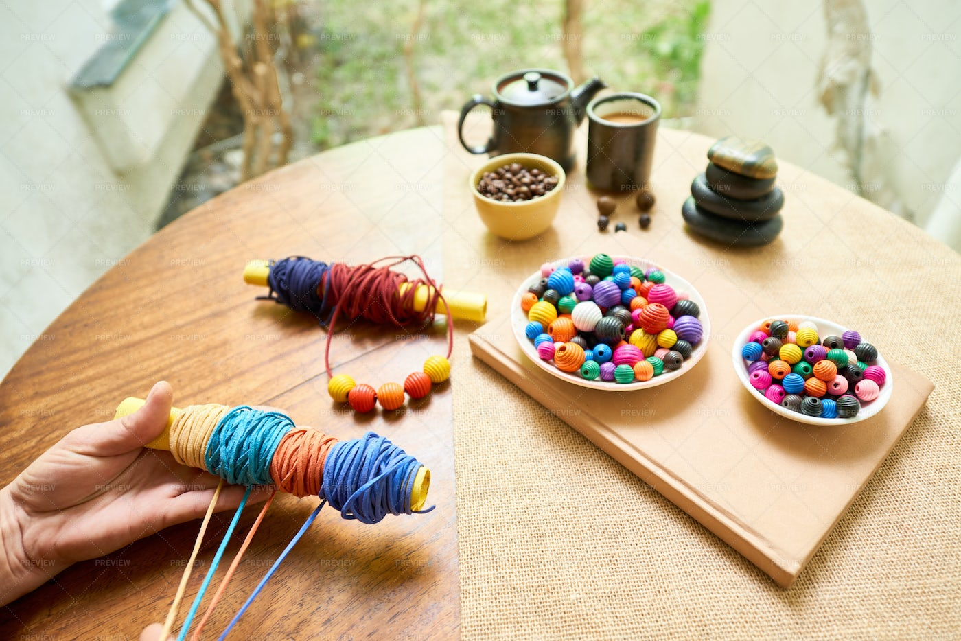 Making Bracelet From Colorful Ropes: Stock Photos