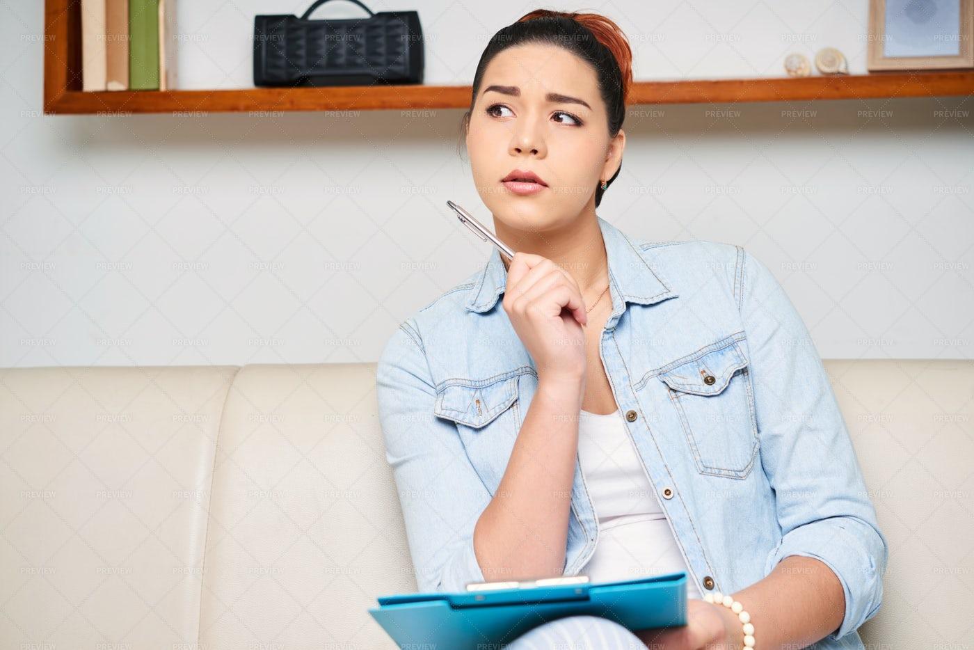 Woman Writing An Essay: Stock Photos
