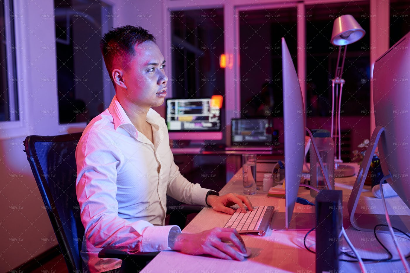 Young Businessman Working On Computer: Stock Photos