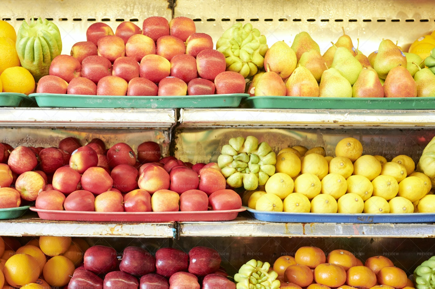Fruits On Shelves In Supermarket: Stock Photos