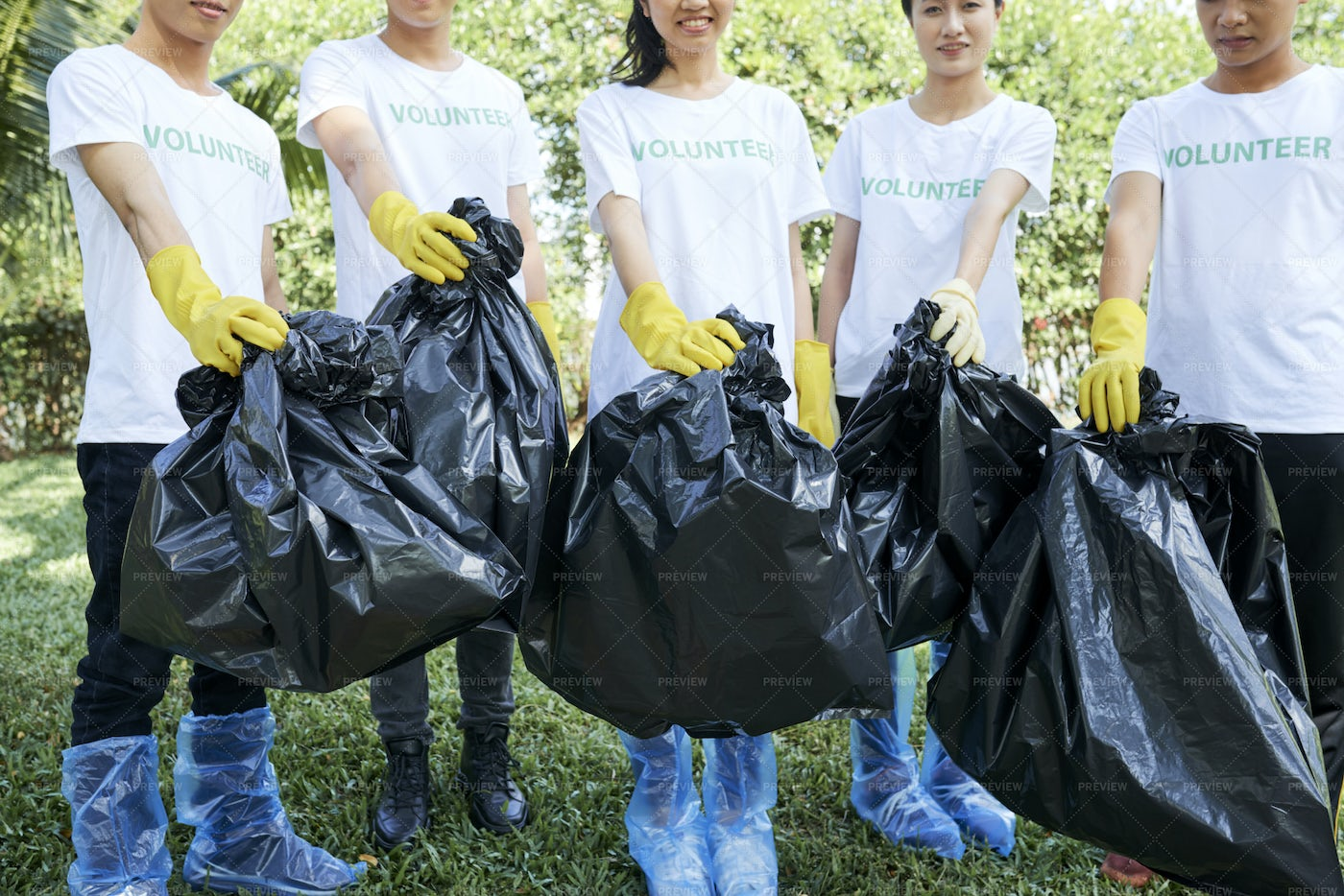Volunteers Picking Up The Rubbish: Stock Photos