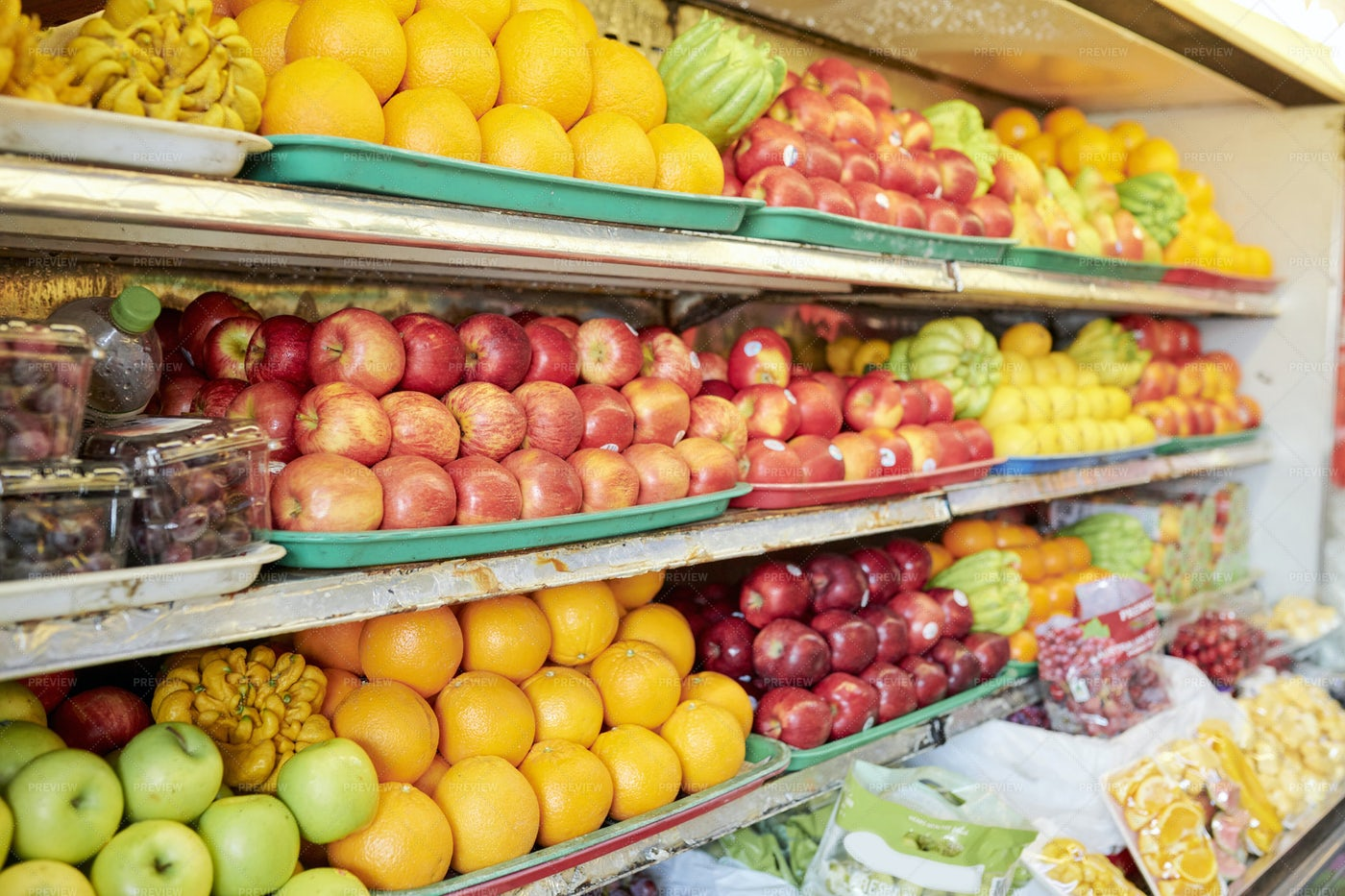 Shelves With Fruits At Grocery Store: Stock Photos