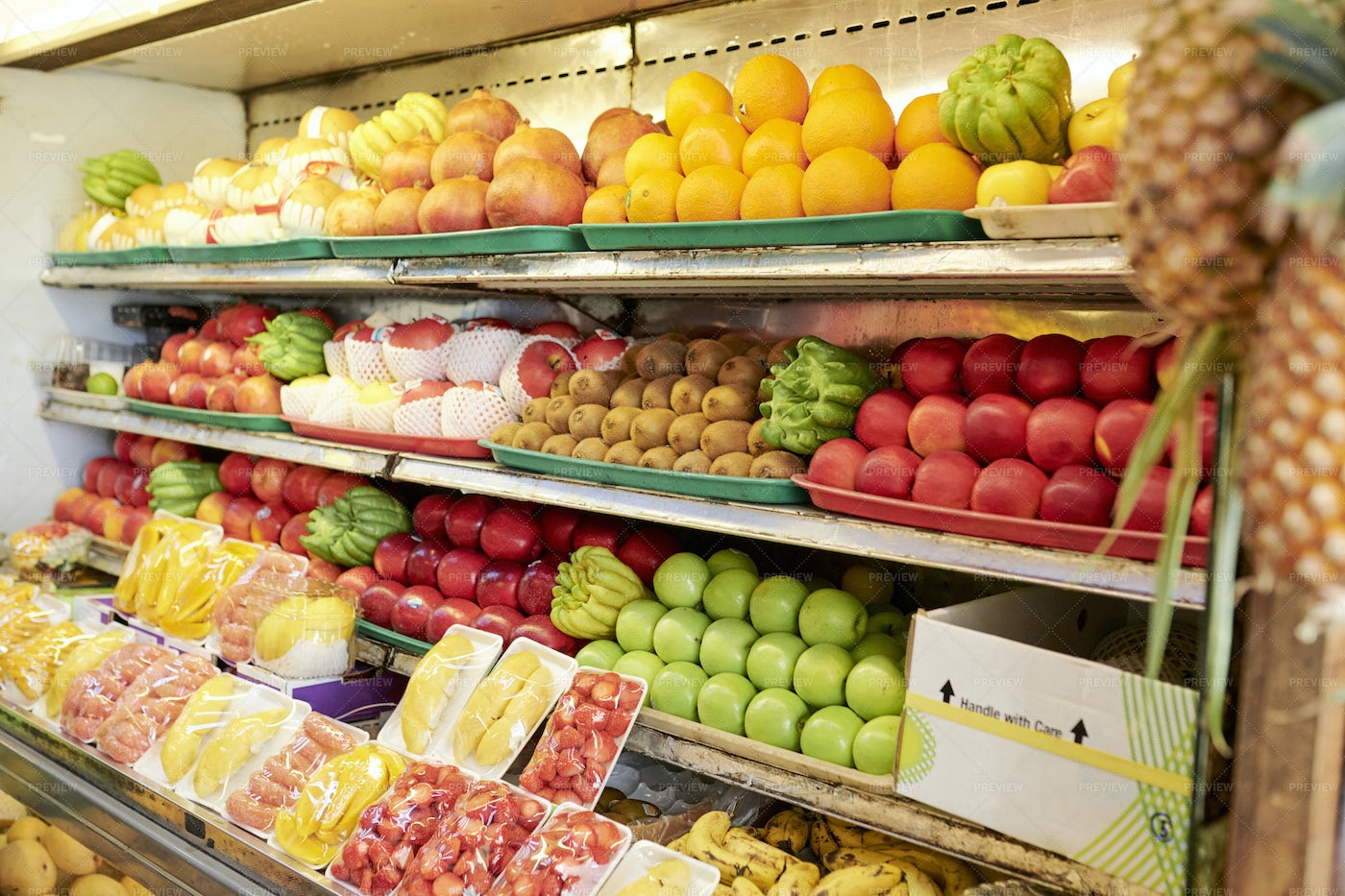 Shelves With Fruits In Supermarket: Stock Photos