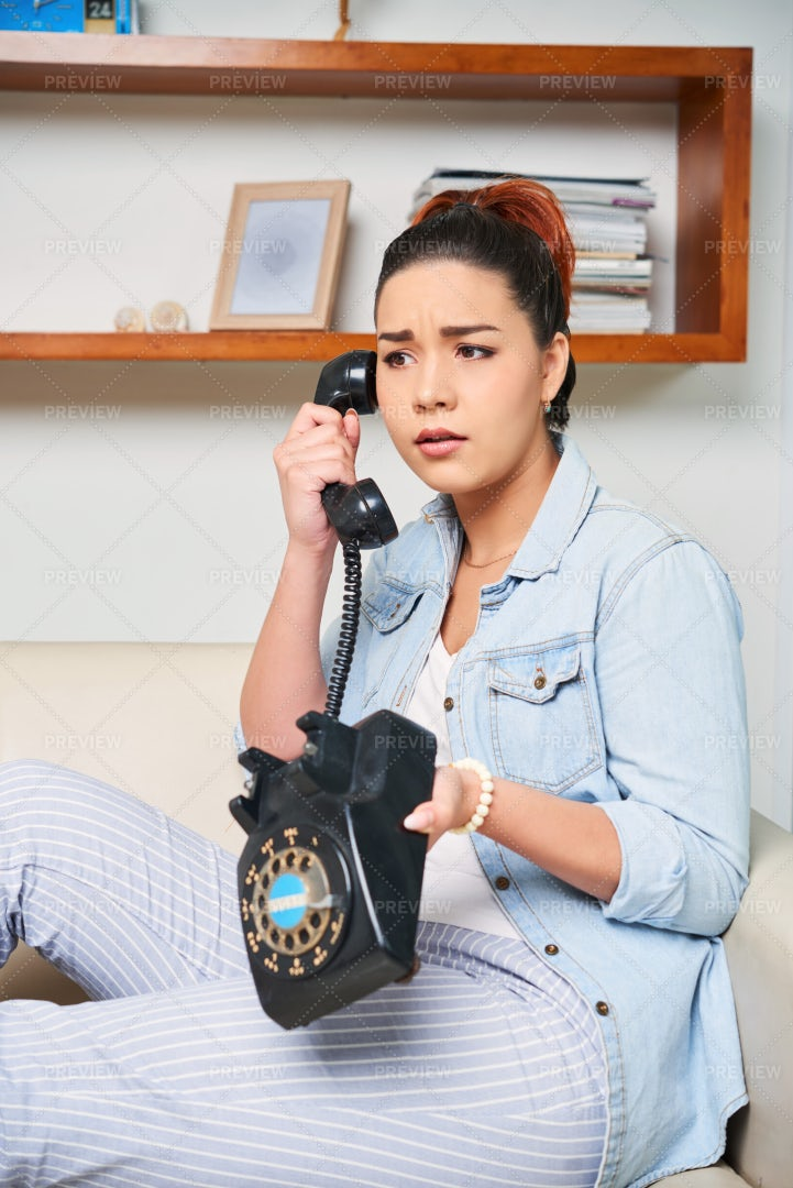 Woman Talking On Old Phone: Stock Photos