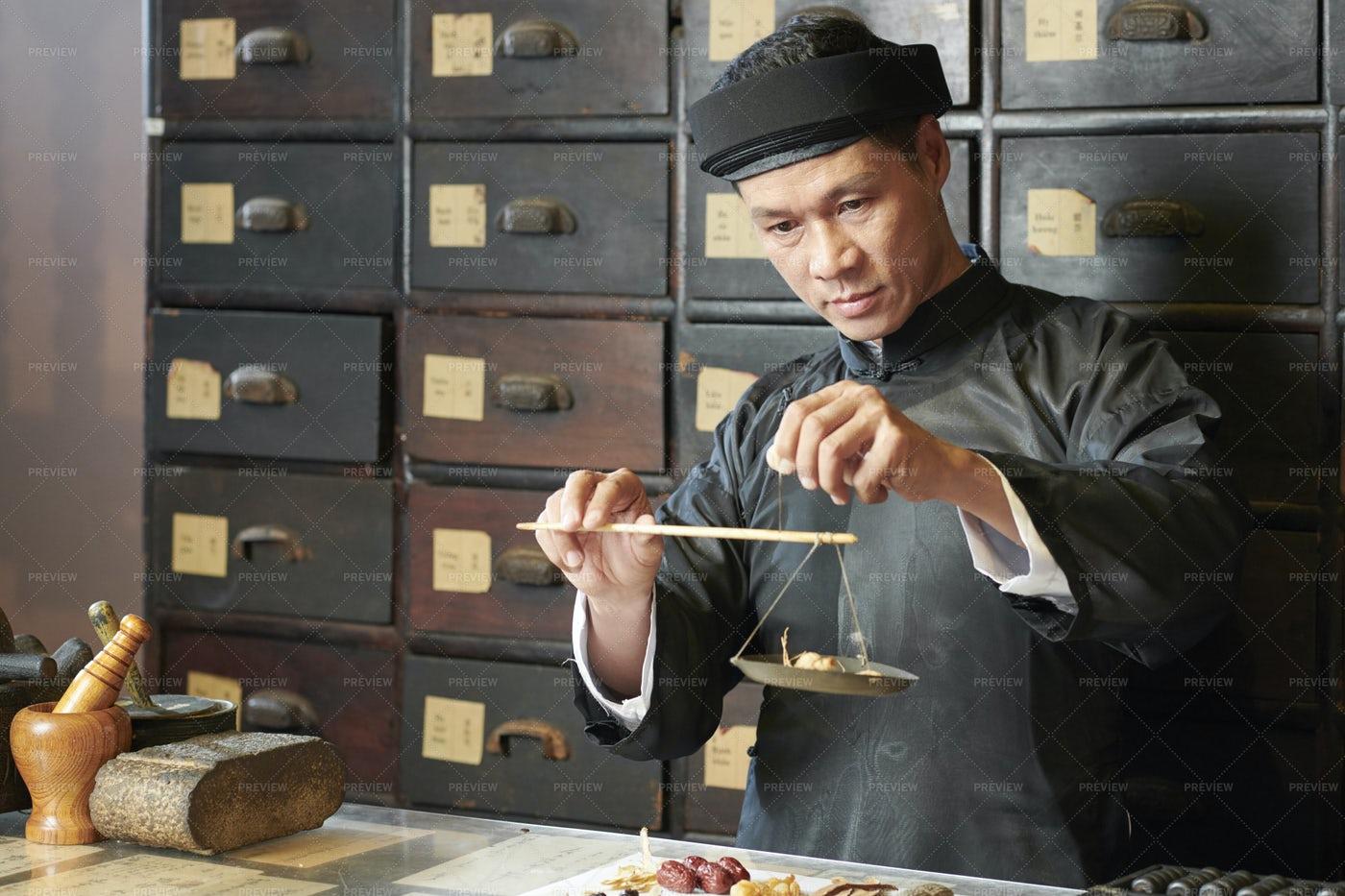 Medicine Practitioner Weighting Herbs: Stock Photos