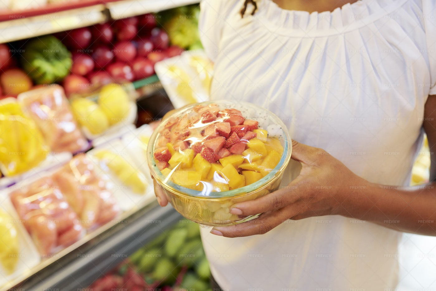 Bowl Of Salad In Hands Customer: Stock Photos