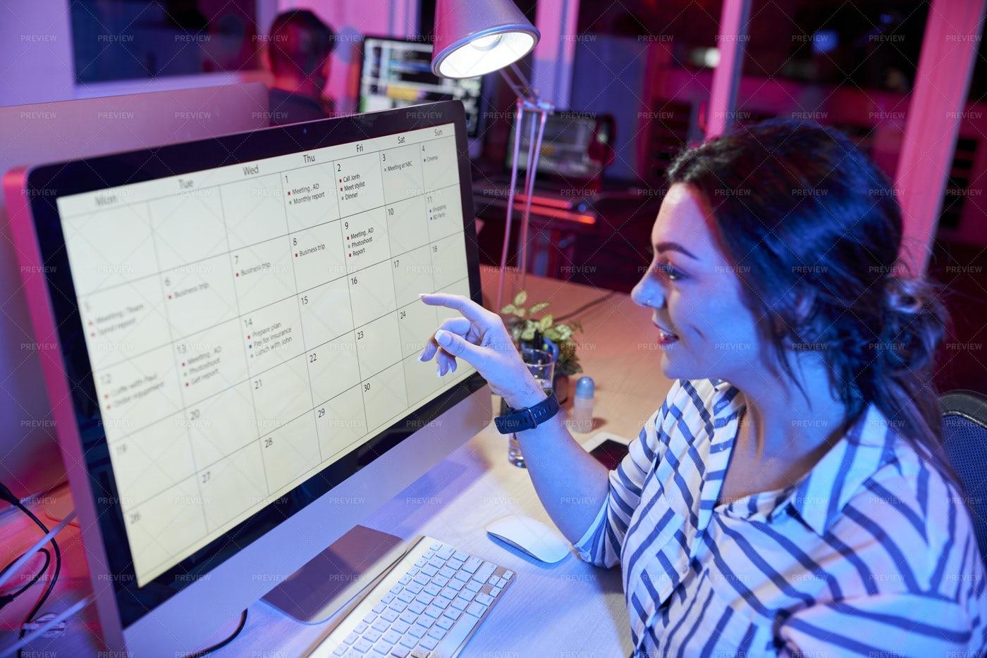 Secretary Preparing The Schedule: Stock Photos